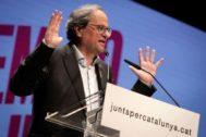 Quim Torra, durante el acto central de JxCAT en Girona el 21 de mayo