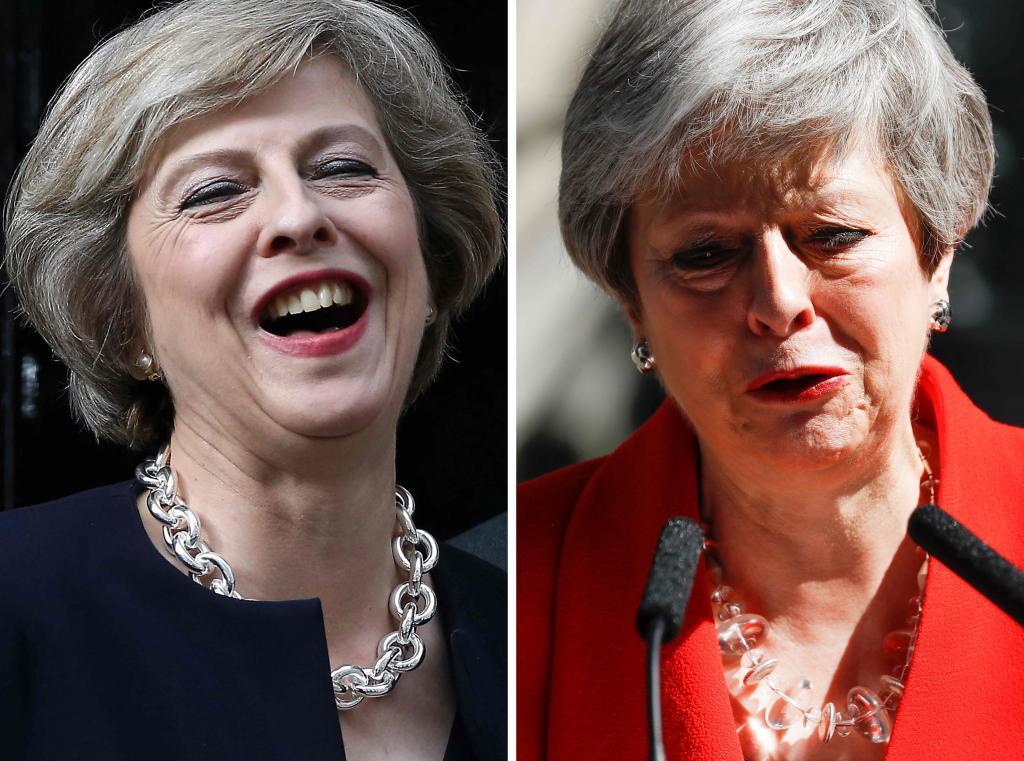 La premier Theresa May en dos imágenes: 2016 y 2019.