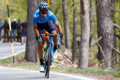 Team Movistar rider Spain's Mikel <HIT>Landa</HIT> rides during stage thirteen of the 102nd Giro d'Italia - Tour of Italy - cycle race, 196kms from Pinerolo to Ceresole Reale (Lago Serru) on May 24, 2019. (Photo by Luk BENIES / AFP)