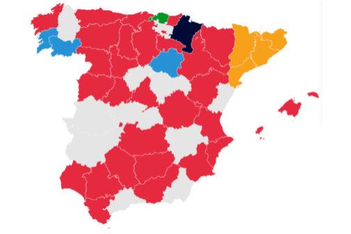 Primera fuerza en elecciones al Congreso del voto CERA. JEP, INE y Elaboración propia. Sin datos para Canarias ni para las circunscripciones que aparecen en gris.