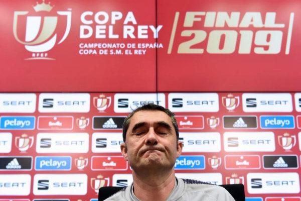 Ernesto Valverde, durante la rueda de prensa previa al partido.