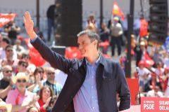 Pedro Sánchez, durante un mitin en Extremadura.