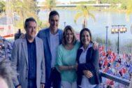 Juan Espadas, Pedro Sánchez, Susana Díaz y Lina Gálvez, en un acto electoral.