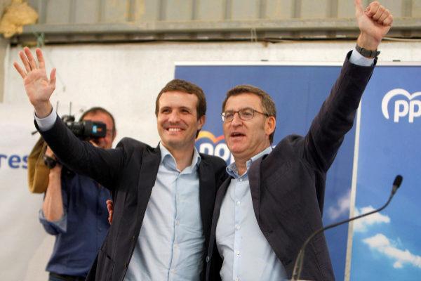 Casado y Feijóo, durante un mitin de campaña para el 26-M.