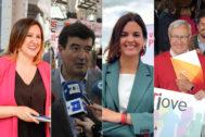 Los candidatos a la Alcaldía de Valencia. De izda. a dcha: María José Catalá (PP), Fernando Giner (Cs), Sandra Gómez (PSPV) y Joan Ribó (Compromís).