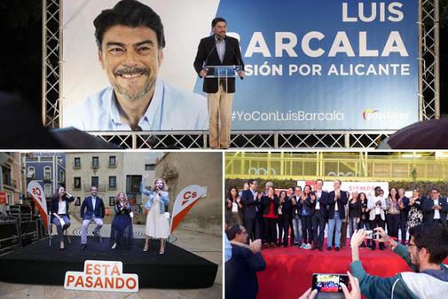 Actos finales de campaña de PP, Cs y PSOE en Alicante