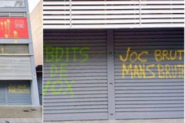 Pintadas en la sede del PSC en Barcelona