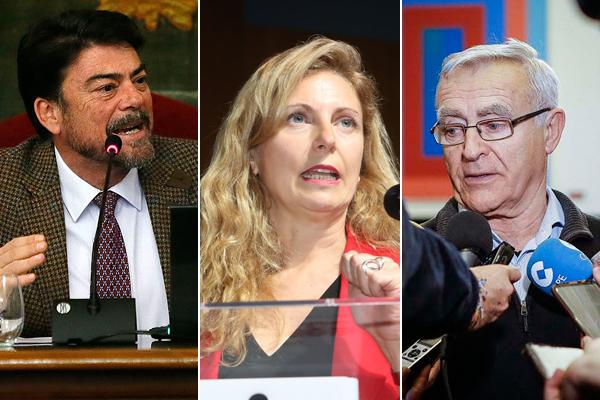 Los alcaldes de Alicante, Luis Barcala (PP), Castellón, Amparo Marco (PSPV) y Valencia, Joan Ribó (Compromís).