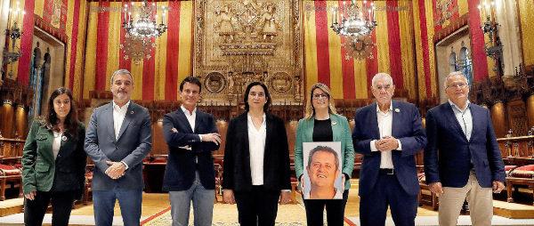 Los candidatos al Ayuntamiento de Barcelona, ayer, en el Consistorio....
