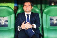 Valverde, en el banquillo, durante la final de Copa.