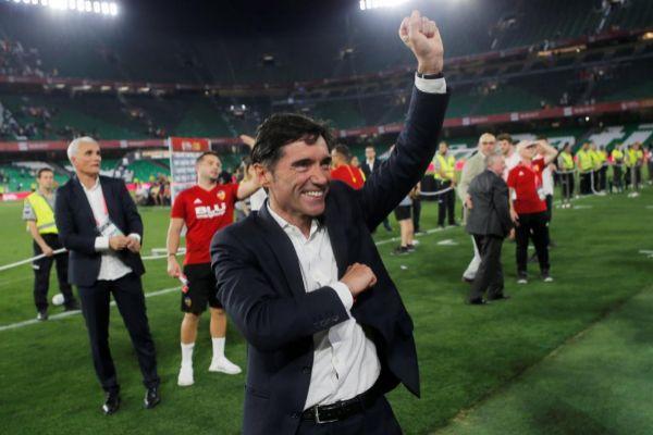 Marcelino festeja el triunfo en la final de Copa.