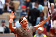 PARIS, FRANCE - MAY 26: Rodger <HIT>Federer</HIT> of Switzerland celebrates victory during his mens singles first round match against Lorenzo Sonego of Italy during Day one of the 2019 French Open at Roland Garros on May 26, 2019 in Paris, France. (Photo by Clive Brunskill/Getty Images)