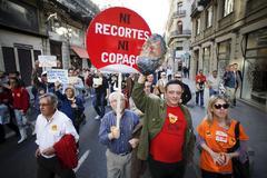Manifestación en Valencia contra del copago impuesto por la Generalitat Valenciana a los dependientes en 2014.
