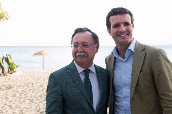 Elecciones autonómicas y municipales 26-M. Acto mitin de Pablo Casado en Ceuta junto al alcalde-presidente Juan Jesús Vivas.