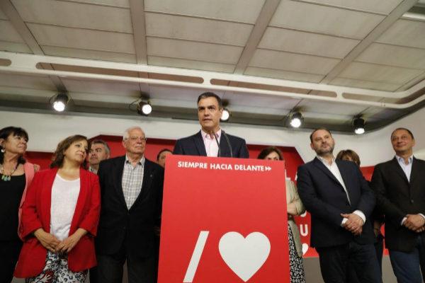 Noche electoral en la sede del PSOE  para valorar los resultados de...