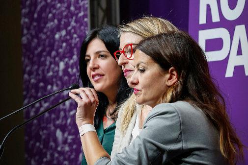 Las candidatas europeas dieron la cara en la noche electoral de Podemos