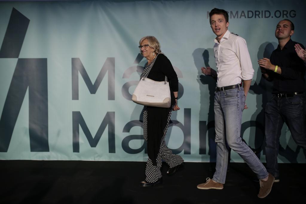 Manuela Carmena e Íñigo Errejón, la noche electoral.