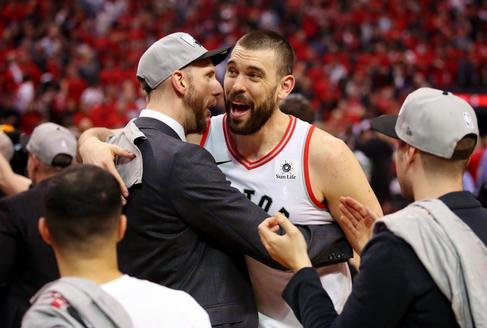 == FOR NEWSPAPERS, INTERNET, TELCOS & TELEVISION USE ONLY == TORONTO, ONTARIO - MAY 25: <HIT>Marc</HIT> <HIT>Gasol</HIT> #33 of the Toronto Raptors celebrates after defeating the Milwaukee Bucks 100-94 in game six of the NBA Eastern Conference Finals to advance to the 2019 NBA Finals at Scotiabank Arena on May 25, 2019 in Toronto, Canada. NOTE TO USER: User expressly acknowledges and agrees that, by downloading and or using this photograph, User is consenting to the terms and conditions of the Getty Images License Agreement. Gregory Shamus/Getty Images/AFP