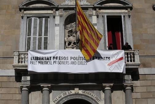 La fachada de la Generalitat el pasado mes de marzo