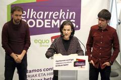 Ramón Sánchez, de Equo, Isabel Salud, de Ezker Anitza-IU y Lander Martínez, de Podemos.