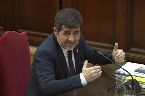 Jordi Sànchez, durante su declaración en el juicio del 1-O