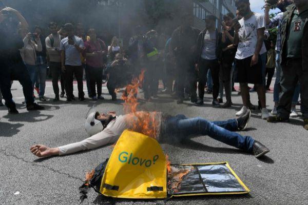 Imagen de la protesta de los trabajadores de la plataforma en Barcelona este lunes