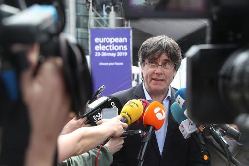 Carles Puigdemont habla con los medios en Bruselas el pasado 26 de mayo.