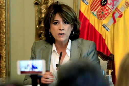 La ministra de Justicia Dolores Delgado, durante la inauguración de...