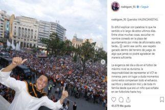 El enigmático mensaje de Rodrigo Moreno que suena a despedida del Valencia
