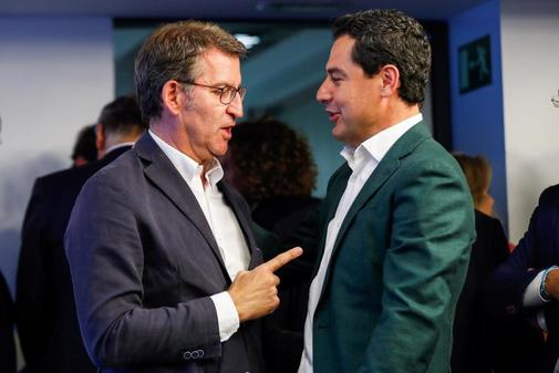 Los presidentes de Galicia y Andalucía, Alberto Núñez Feijóo y Juan Manuel Moreno Bonilla.