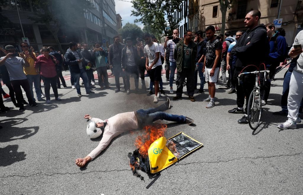 Protestas tras la muerte de un ciclista de Glovo el pasado sábado