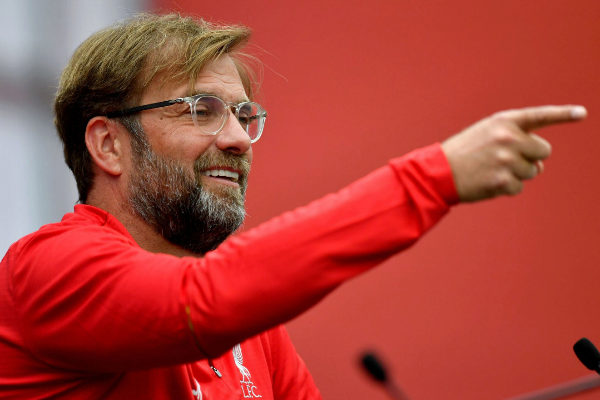 Liverpool manager Jurgen <HIT>Klopp</HIT> speaks during a press...