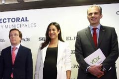Almeida (PP), Villacís (Cs) y Ortega Smith (Vox)