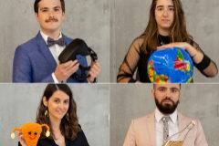 Pablo Mahave, Clara Delgado, Thais González Capella y Oriol Solé, becarios de 'la Caixa' con los objetos que representan sus intereses y perfiles profesionales.