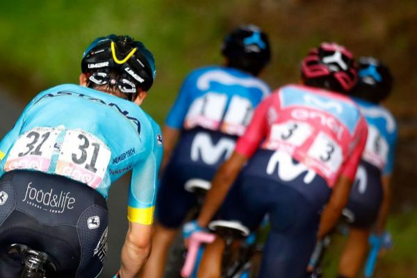 TOPSHOT - Team Astana rider Colombia's Miguel Angel Lopez (L) climbs during the stage sixteen of the 102nd <HIT>Giro</HIT> d'<HIT>Italia</HIT> - Tour of Italy - cycle race, 226kms from Lovere to Ponte Di Legno on May 28, 2019. (Photo by Luk BENIES / AFP)