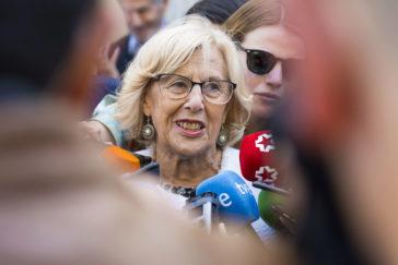 Manuela Carmena, este miércoles, ante los medios.