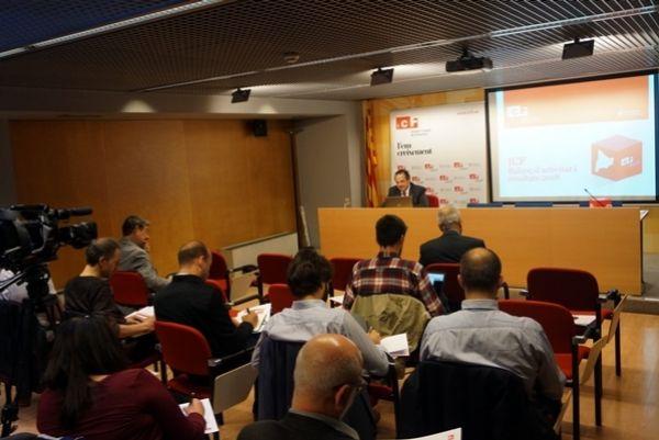 El consejero delegado del ICF Josep-Ramon Sanromà esta mañana en rueda de prensa.