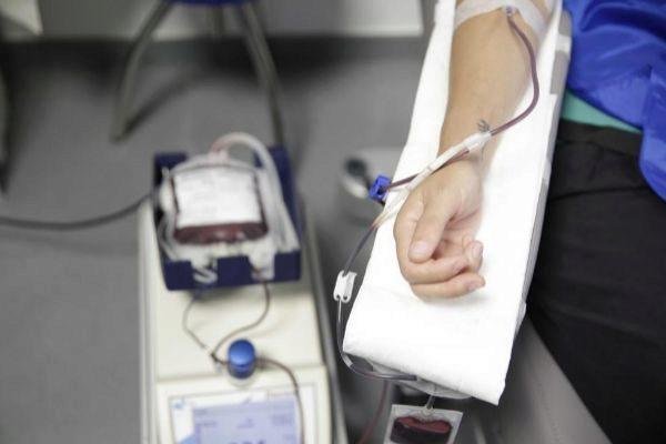 Un donante de sangre en Madrid.