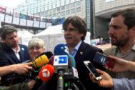 Carles Puigdemont, Toni Comín y Clara Ponsatí, ante el Parlamento Europeo
