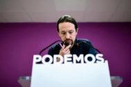 Pablo Iglesias valora los resultados electoral de Podemos, el pasado 27 de mayo, en la sede nacional del partido.