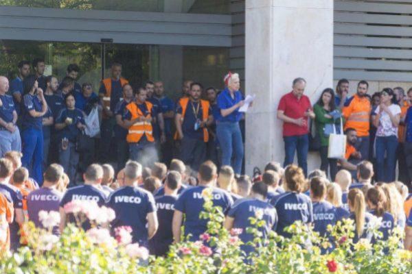 Concentracion de trabajadores de Iveco en Madrid.