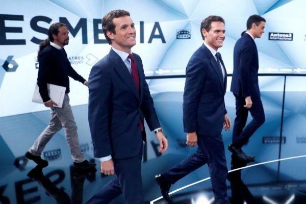 Pablo Iglesias, Pablo Casado, Albert Rivera y Pedro Sánchez, durante uno de los debates electorales.