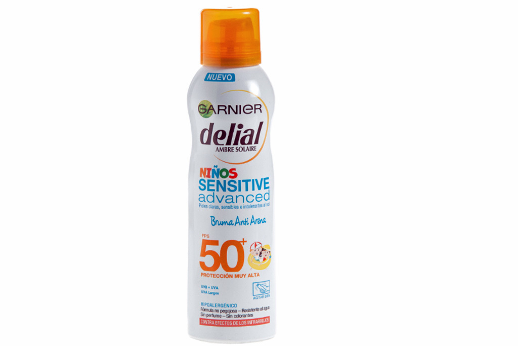 Garnier Delial niños Sensitive Advanced bruma antiarena SPF 50+. P.V.P: 9,15¤