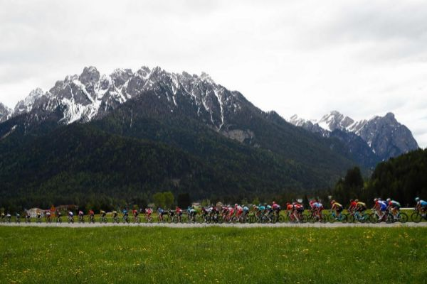 The pack rides during the stage eighteen of the 102nd <HIT>Giro</HIT> d'<HIT>Italia</HIT> - Tour of Italy - cycle race, 222kms from Valdaora to Santa Maria Di Sala on May 30, 2019. (Photo by Luk BENIES / AFP)
