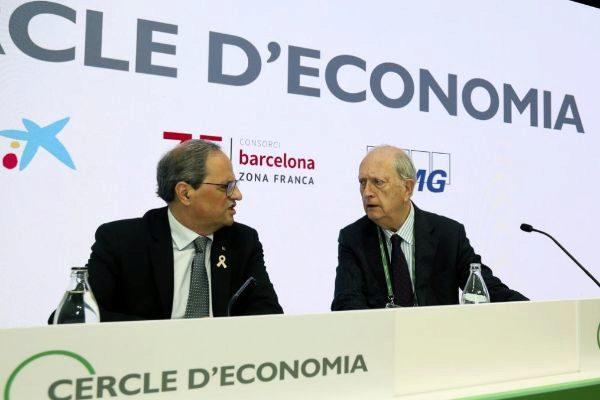 El presidente de la Generalitat, Quim Torra, y el del Círculo de Economía, Juan José Brugera