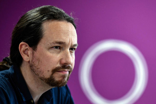 Leader of the far-left party Podemos party Pablo Iglesias gives a press conference in Madrid, on May 27, 2019, a day after Spain held European, local and regional elections. - Podemos, which had conquered the biggest Spanish cities in 2015 with other radical left movements, lost all these municipalities and suffered a humiliating defeat in the polls.