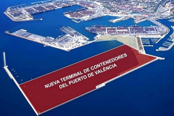 Recreación de la nueva terminal de contenedores.