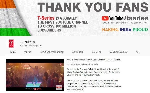 Portal de T-series en Youtube, celebrando los 100 millones de suscriptores.