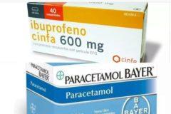 Una caja de ibuprofeno de 600 mg y paracetamol de 1 gr.