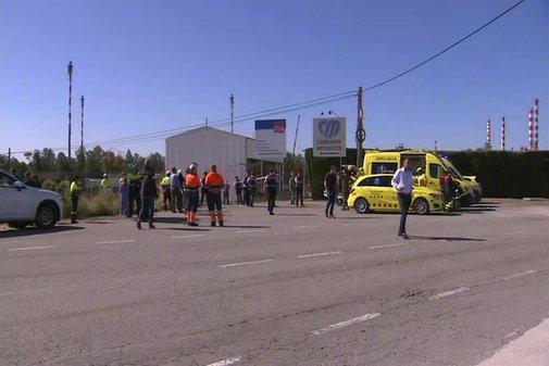Las instalaciones de Carburos Metálicos donde se ha producido la fuga química, en La Pobla de Mamufet, Tarragona.